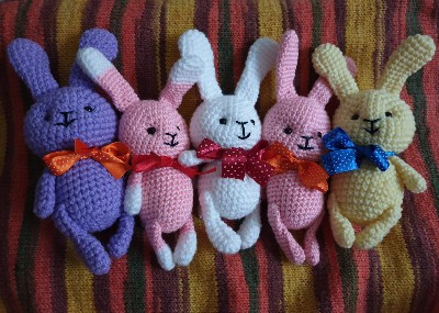 Knitted rabbit toys